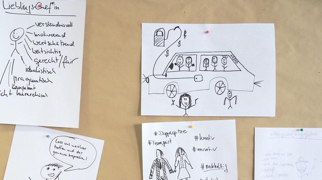 bei der Arbeit als Workshop-Moderatorin: Lieblingschef/in visualisieren skizzieren zur Positionierung