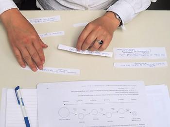 beim Coaching: Rückwärts planen, Hände mit Notizzetteln