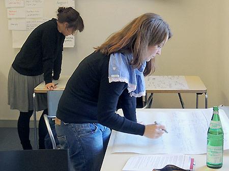 zwei Teilnehmerinnen erstellen Plakate