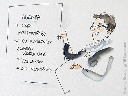 Esther Schaefer als Workshop-Moderatorin mit World Café-Agenda, gezeichnet von Till Lassmann