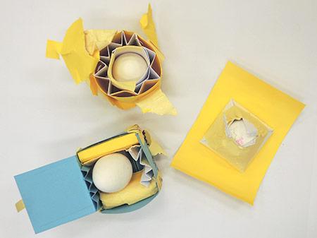 drei Prototypen für Ei-Verpackung